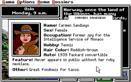 Where In the World Is Carmen Sandiego - 1991 Edition - DOS - Carmen's Dossier.png