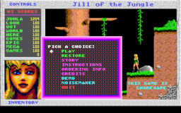 Jill of the Jungle - DOS - Main Menu.png