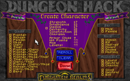Dungeon Hack - DOS - Character Creation.png